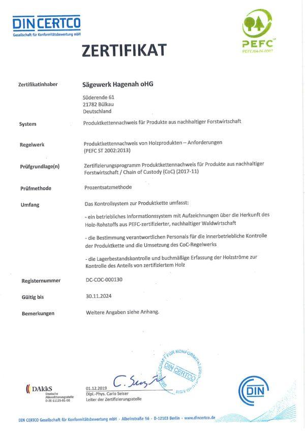 Zertifkat PEFC